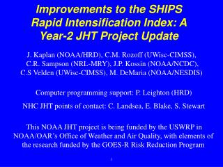 Improvements to the SHIPS Rapid Intensification  Index: A Year-2 JHT Project Update