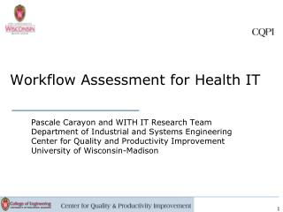 Workflow Assessment for Health IT
