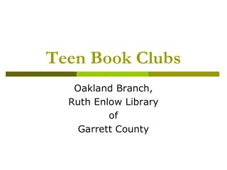Teen Book Clubs