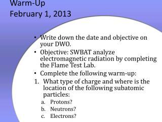 Warm-Up February 1, 2013