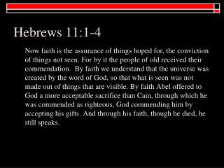 Hebrews 11:1-4