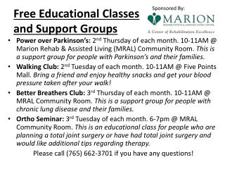 Free Educational Classes  and Support Groups