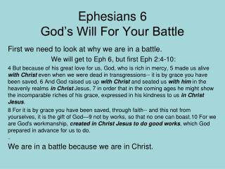 Ephesians 6 God's Will For Your Battle