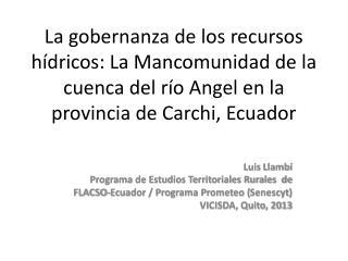 Luis  Llambí Programa de Estudios Territoriales Rurales  de