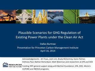 Plausible Scenarios for GHG Regulation of  Existing Power Plants under the Clean Air Act
