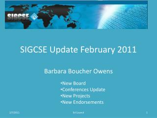 SIGCSE Update February 2011