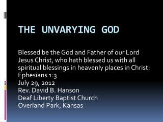 The Unvarying God