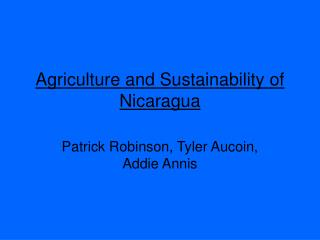 Agriculture and Sustainability of Nicaragua