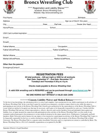 Broncs  Wrestling Club ***** Registration and Liability Waiver*****