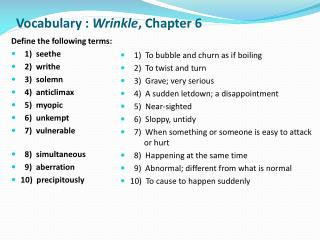 Vocabulary :  Wrinkle ,  Chapter 6