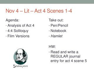 Nov 4 – Lit – Act 4 Scenes 1-4