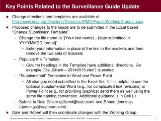 Key Points Related to the Surveillance Guide Update