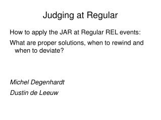 Judging at Regular