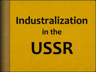 Industralization i n  the USSR