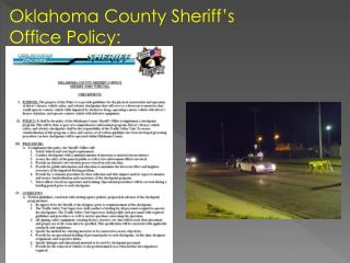 Oklahoma County Sheriff�s Office Policy: