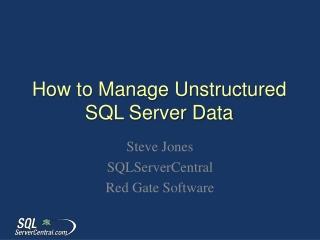 Managing SQL Server I