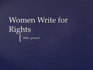 Women Write for Rights