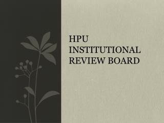 HPU  Institutional review board