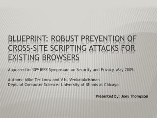 BLUEPRINT: Robust Prevention of Cross-Site Scripting Attacks for Existing Browsers