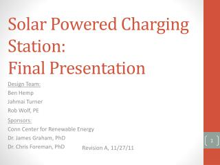 Solar Powered Charging Station: Final Presentation