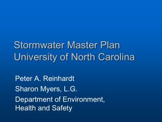 Stormwater Master Plan University of North Carolina
