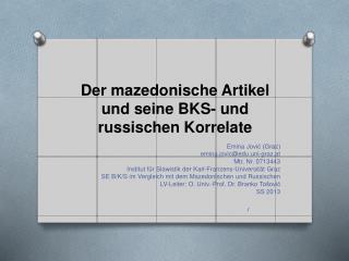 Der mazedonische Artikel und seine BKS- und russischen Korrelate