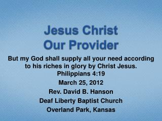 Jesus Christ Our Provider