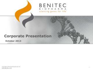 Corporate Presentation  October 2013