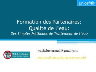 Formation des Partenaires: Qualité de l'eau:  Des Simples Méthodes de Traitement de l'eau