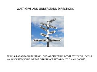 WALT: GIVE AND UNDERSTAND DIRECTIONS
