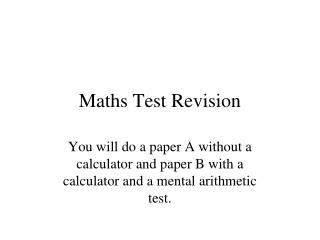 Maths Test Revision