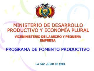 MINISTERIO DE DESARROLLO PRODUCTIVO Y ECONOM A PLURAL