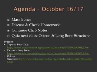 Agenda – October 16/17