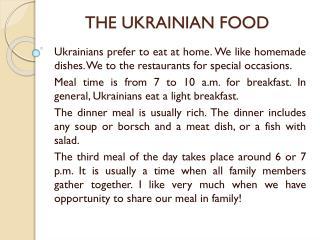 THE UKRAINIAN FOOD