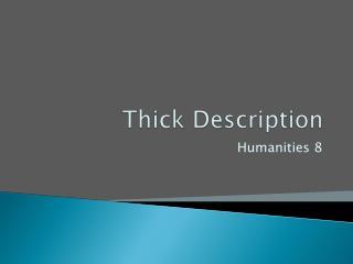 Thick Description