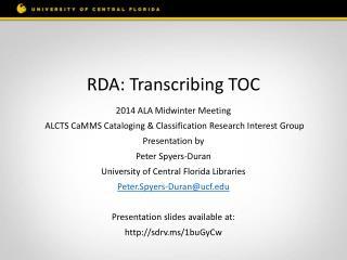 RDA: Transcribing TOC