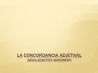 La  concordancia adjetival (noun-adjective agreement)