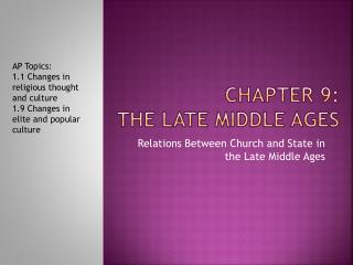 Chapter 9: the late middle ages