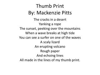 Thumb Print By: Mackenzie Pitts