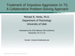 Treatment of Impulsive Aggression In TS: A Collaborative Problem-Solving Approach