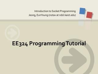 EE324 Programming Tutorial