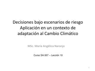 Decisiones bajo escenarios de riesgo Aplicación en un contexto de  adaptación al Cambio Climático
