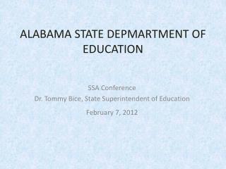 ALABAMA STATE DEPMARTMENT OF EDUCATION