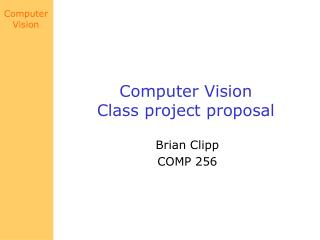 Computer Vision Class project proposal