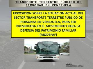 TRANSPORTE  TERRESTRE  PÚBLICO  DE  PERSONAS   EN  VENEZUELA