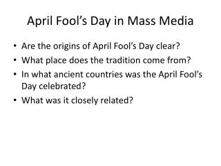 April Fool's Day in Mass Media