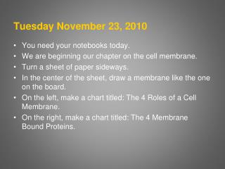 Tuesday November 23, 2010