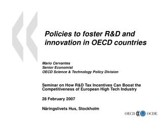 Policies to foster RD and innovation in OECD countries