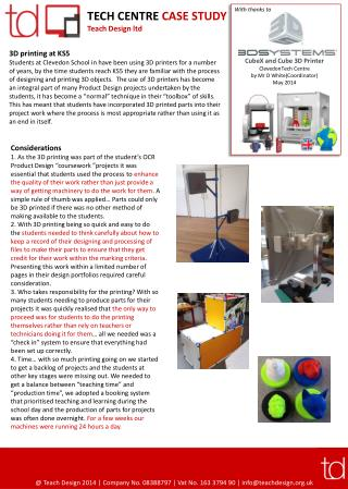 TECH CENTRE  CASE  STUDY Teach Design ltd