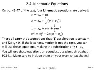 2.4  Kinematic Equations